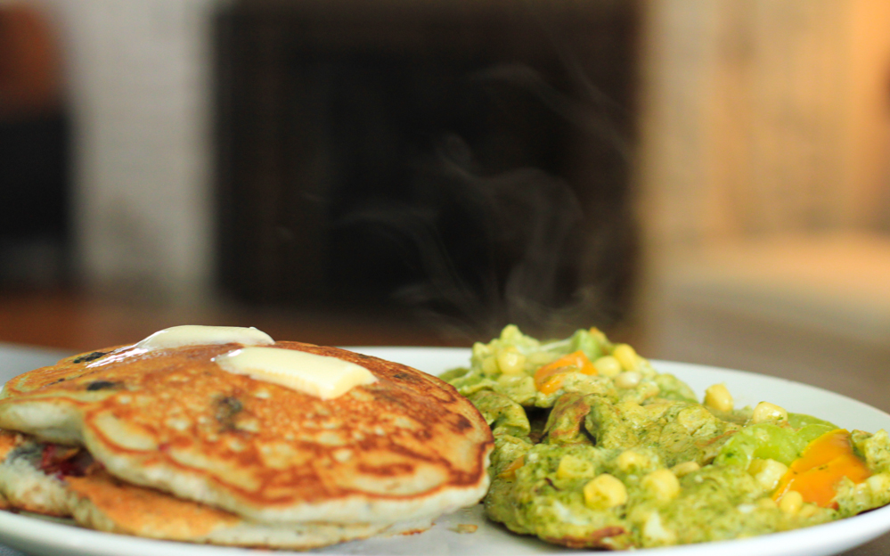 Basketball and Brunch. Pancakes with a pesto and bell pepper omelet.