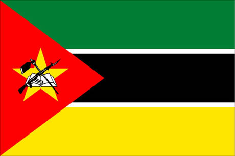Mozambique's flag has a AK-47 with bayonet, hoe and an open book. So, Mozambicans want you to know that they are smart and industrious but also will shoot you.