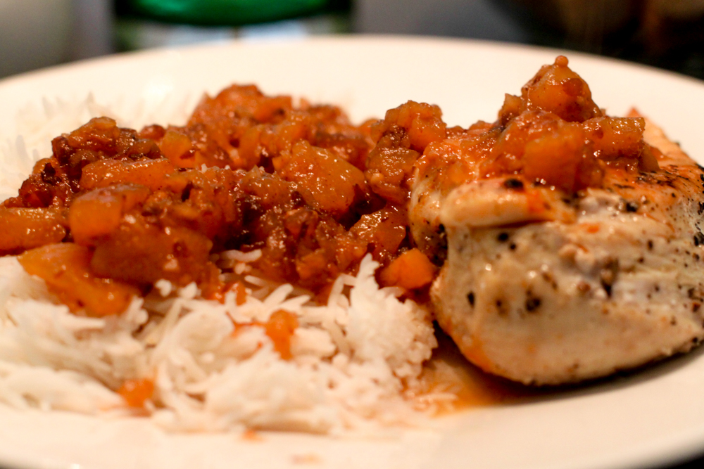 G@H's Peach Chutney over chicken breast and steamed jasmine rice