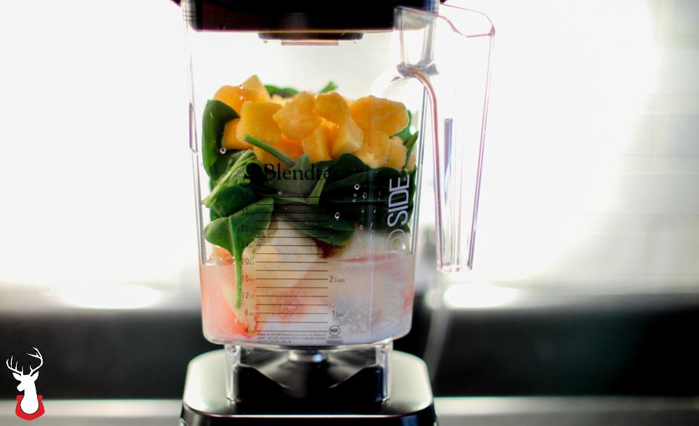 G@H: Preparing to make a green smoothie in this @Blendtec blender