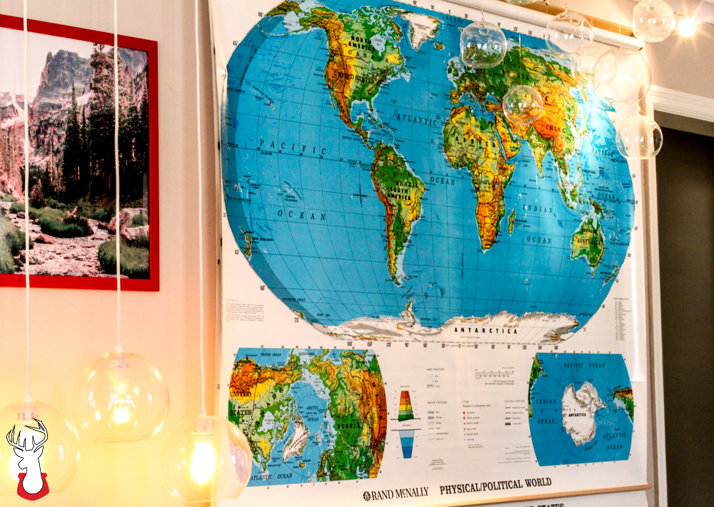 Bring Elementary School Home with a Hanging Wall Map of the World