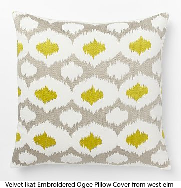 Velvet Ikat Embroidered Ogee Pillow Cover