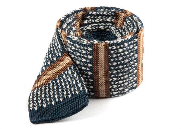 Deep Slate Blue Journey Stripe Knit Tie from The Tie Bar