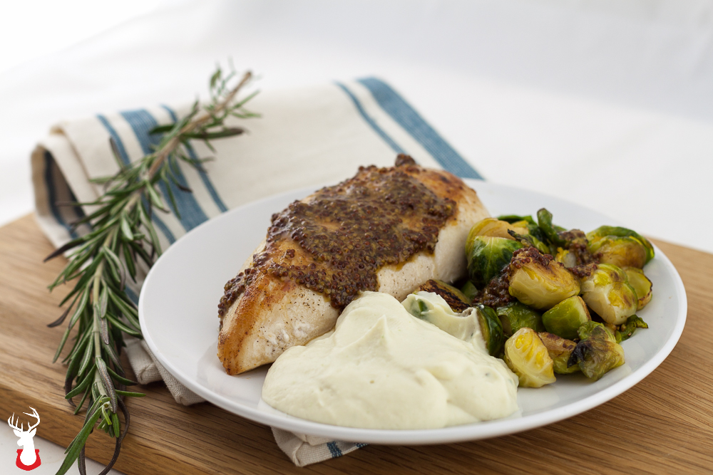 Mustard seed chicken breasts with Brussels sprouts and cauliflower mash
