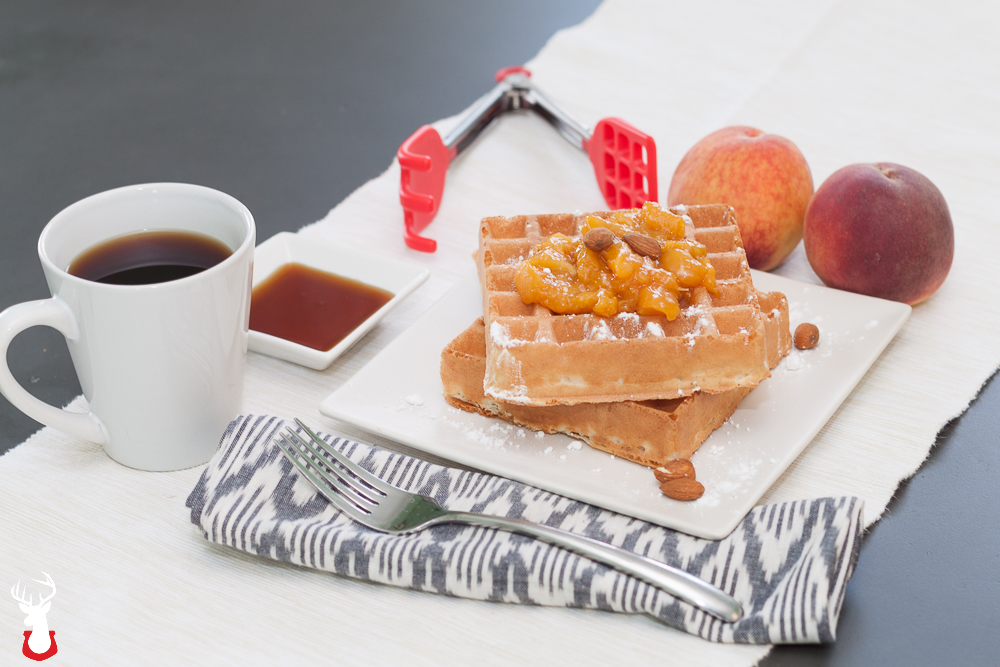 Vanilla Almond Waffles with Peach Brown Sugar Compote