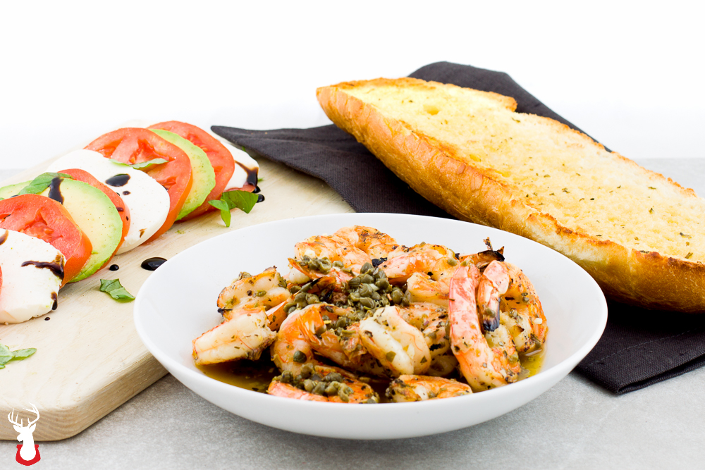 Fire Grilled Shrimp with Avocado Caprese Salad and Garlic Bread