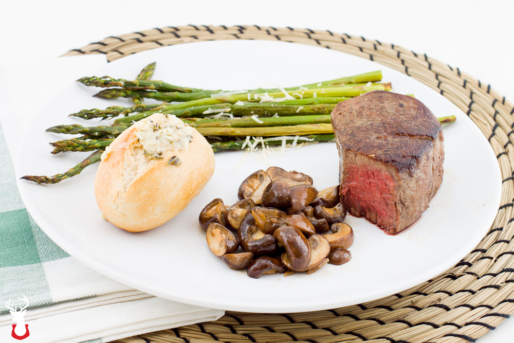 Filet Sous Vide with Sautéed Mushrooms and Roasted Asparagus