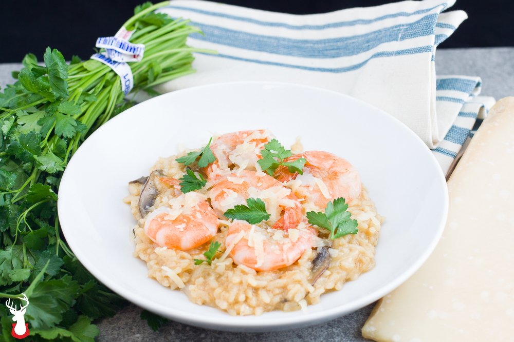 Pressure Cooker Mushroom Risotto with Buttered Shrimp Sous Vide
