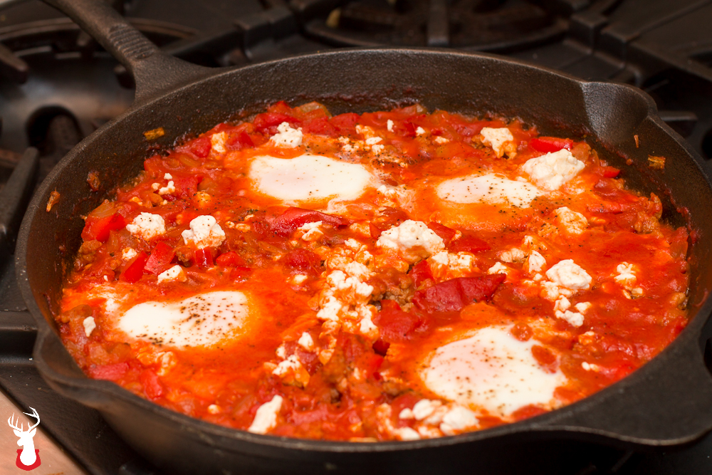 Eggs in Purgatory with Turkey Sausage out of the Oven