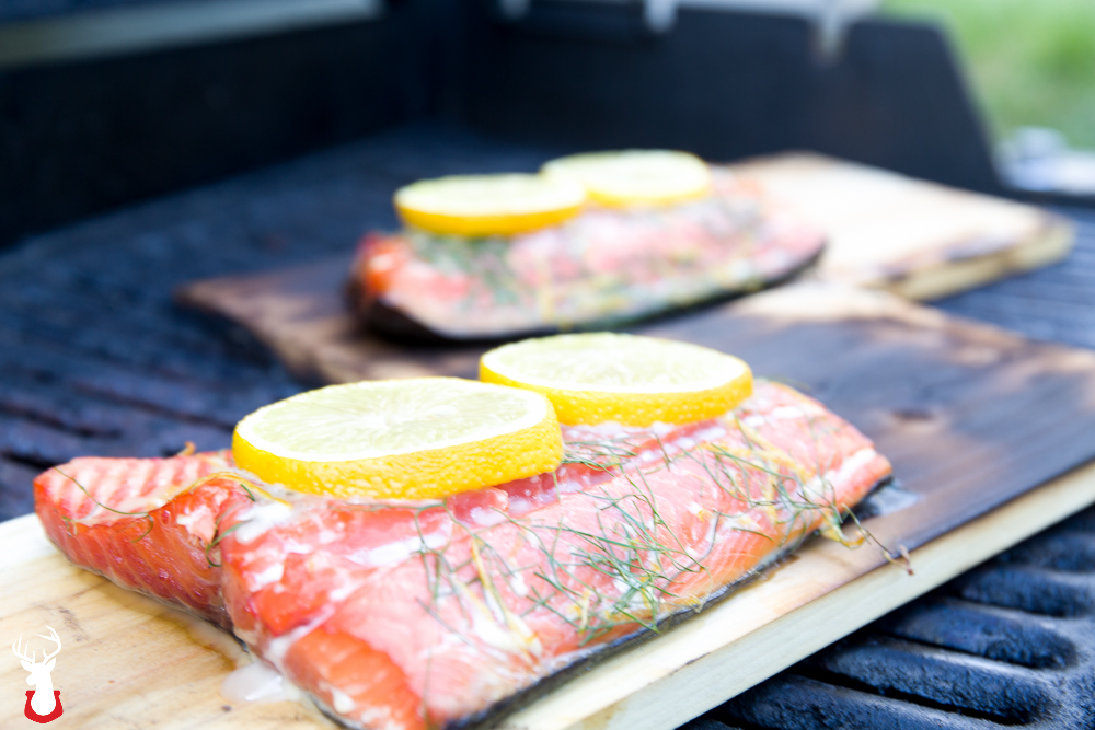 Lemon Dill Salmon Grilled on a Plank