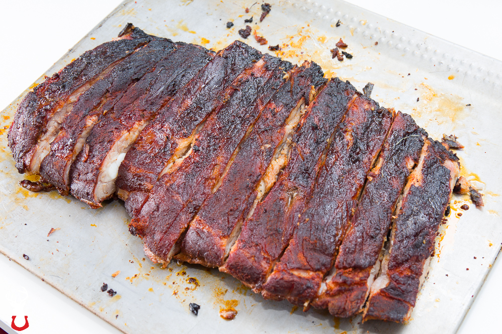 Pork spare ribs out of the smoker