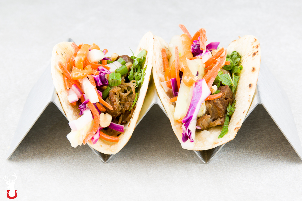 Pork Shoulder Tacos with Asian Slaw and Sriracha Mayo