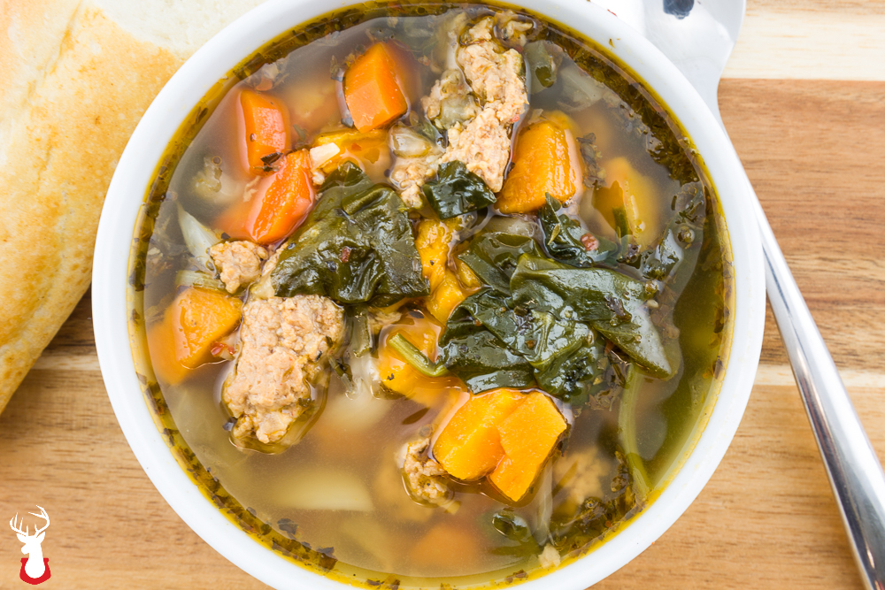 Turkey Sausage Sweet Potato Spinach Soup