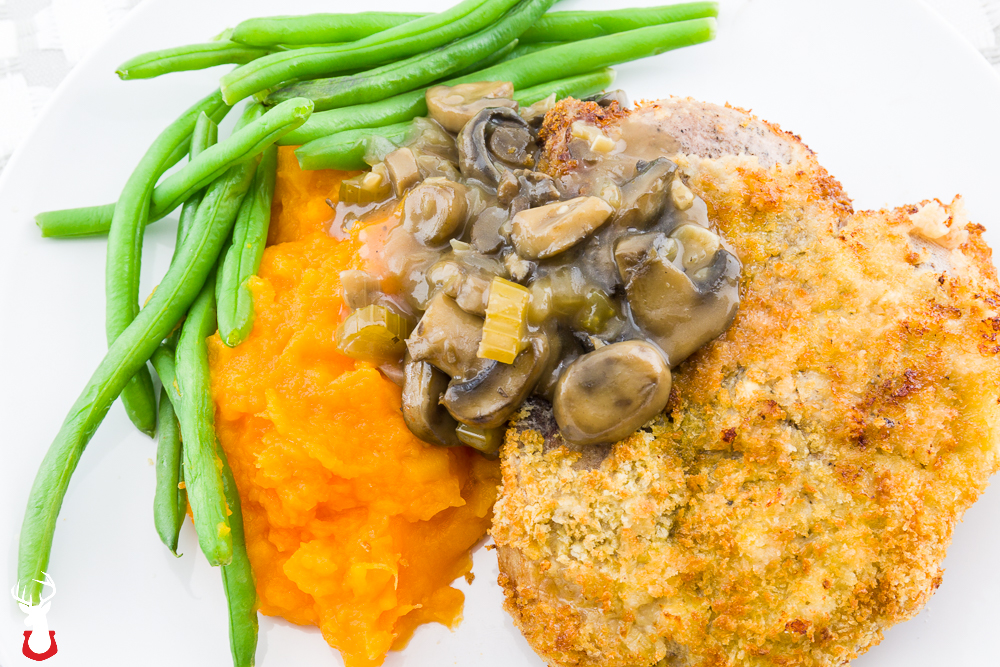Breaded Pork Chops Sous Vide with Tangy Mushroom Sauce