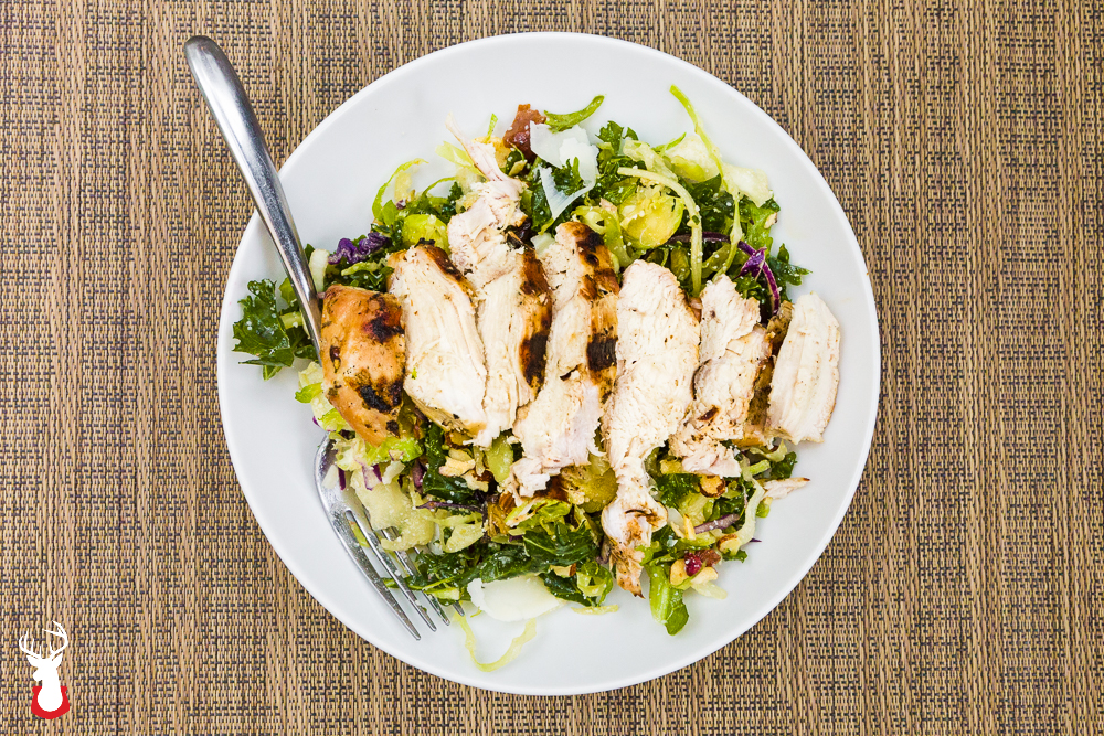 Chopped Cruciferous Salad with Lemon Olive Oil Dressing and Grilled Chicken Breast